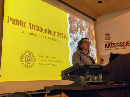 Jodi Barnes providing her keynote speech on public archaeology in Arkansas. We were thrilled and honored to have her at this year's conference!